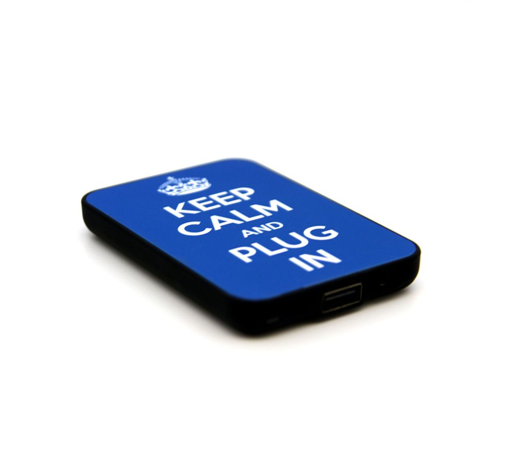 JACK & CABLES Keep Calm and Plug In Portable Power Bank - Blue