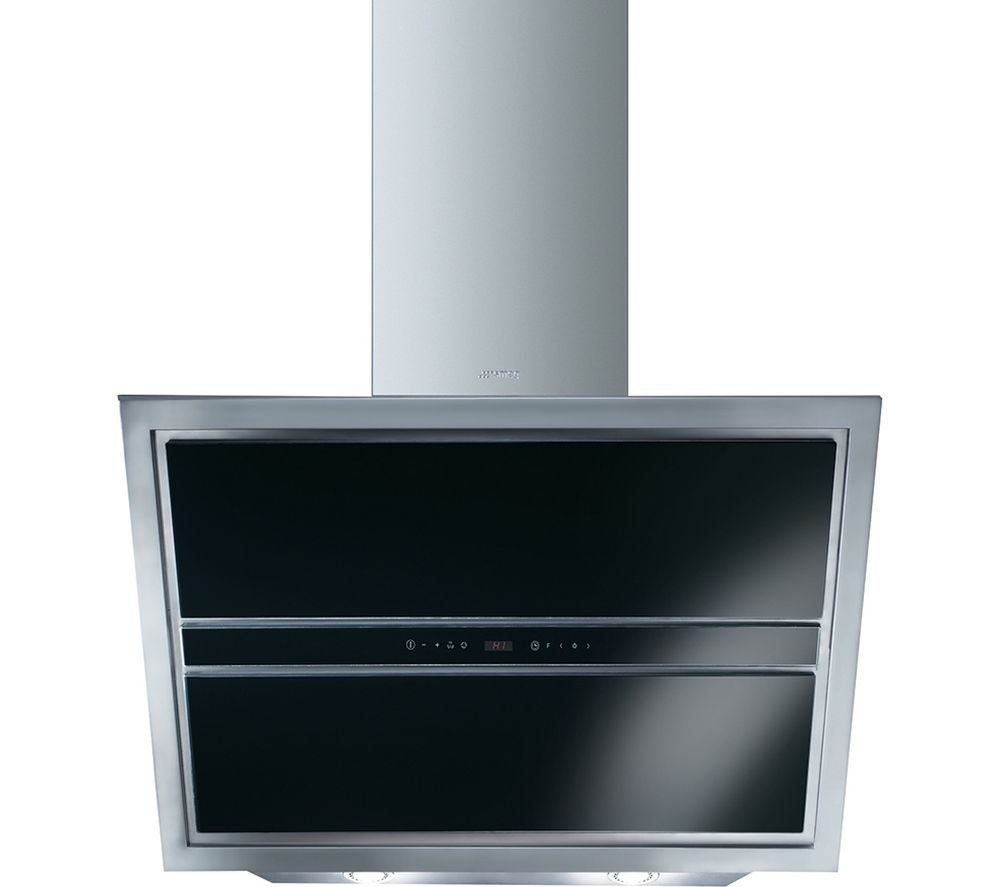 Image of SMEG KCV9NE Chimney Cooker Hood - Stainless Steel & Black Glass, Stainless Steel