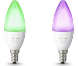 Hue White & Colour Ambience Smart LED Bulb - Candle E14, Twin Pack