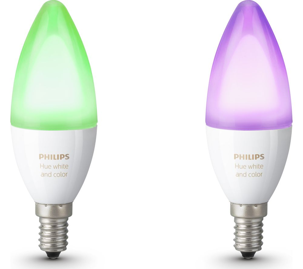 PHILIPS HUE Hue White & Colour Ambience Smart LED Bulb - Candle E14, Twin Pack