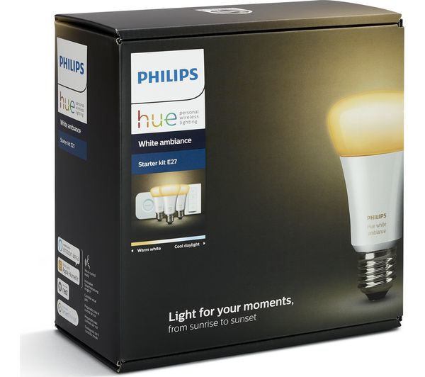 buy philips hue white ambiance e27 starter kit free. Black Bedroom Furniture Sets. Home Design Ideas