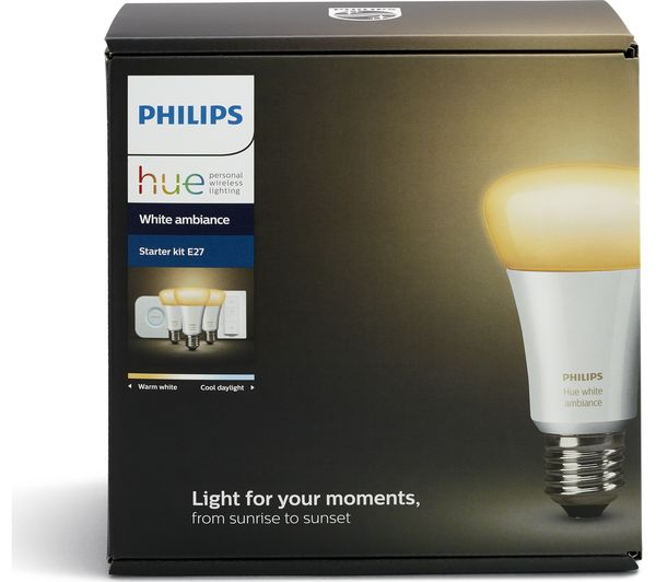 philips hue white ambiance e27 starter kit deals pc world. Black Bedroom Furniture Sets. Home Design Ideas