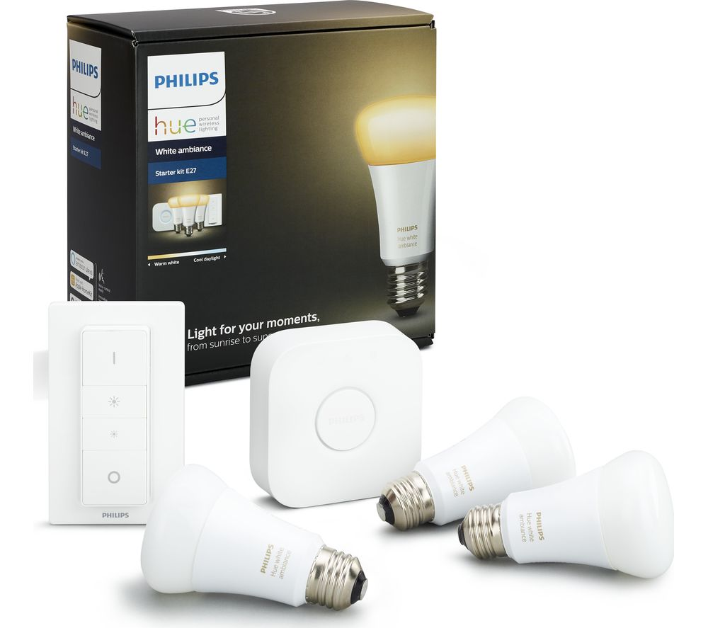 buy philips hue white ambience smart bulb starter kit e27 free delivery currys. Black Bedroom Furniture Sets. Home Design Ideas