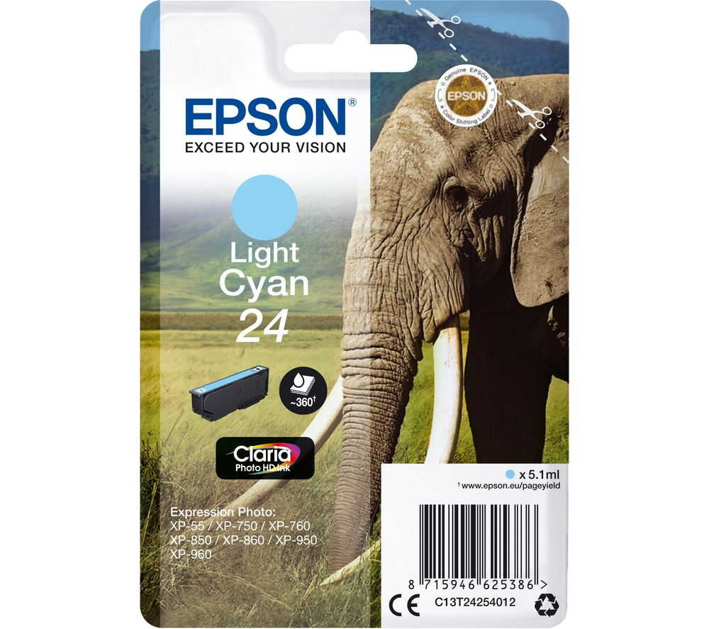 EPSON 24 Elephant Light Cyan Ink Cartridge, Cyan