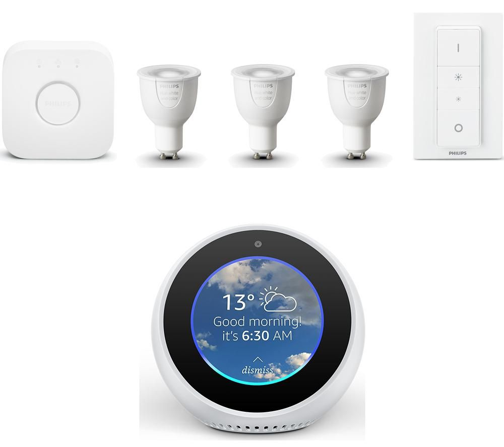 buy philips hue colour gu10 bulbs kit echo spot bundle free delivery currys. Black Bedroom Furniture Sets. Home Design Ideas