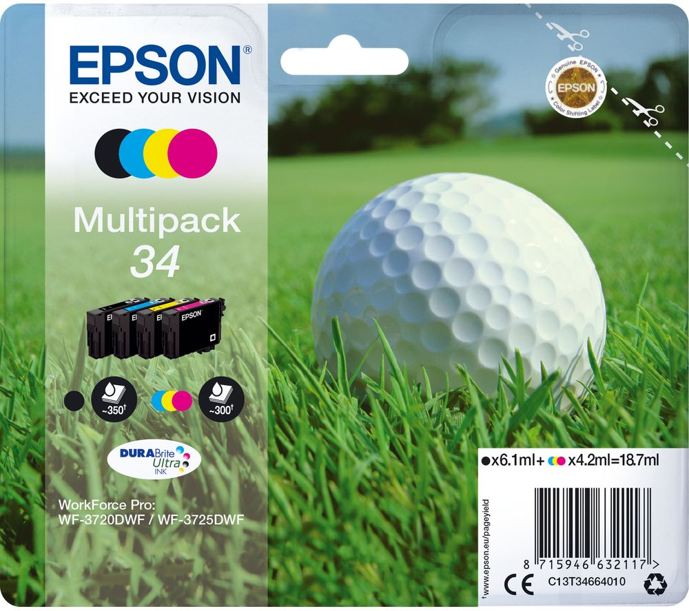 EPSON 34 Golf Ball Cyan, Magenta, Yellow & Black Ink Cartridges - Multipack, Cyan