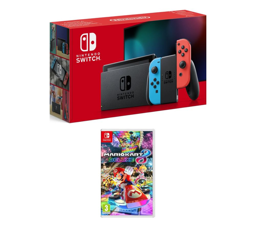 buy nintendo switch neon red mario kart 8 deluxe bundle free delivery currys. Black Bedroom Furniture Sets. Home Design Ideas