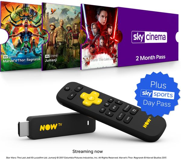 Image of NOW TV Smart Stick with HD & Voice Search - 2 Month Sky Cinema Pass & 1 Day Sky Sports Pass