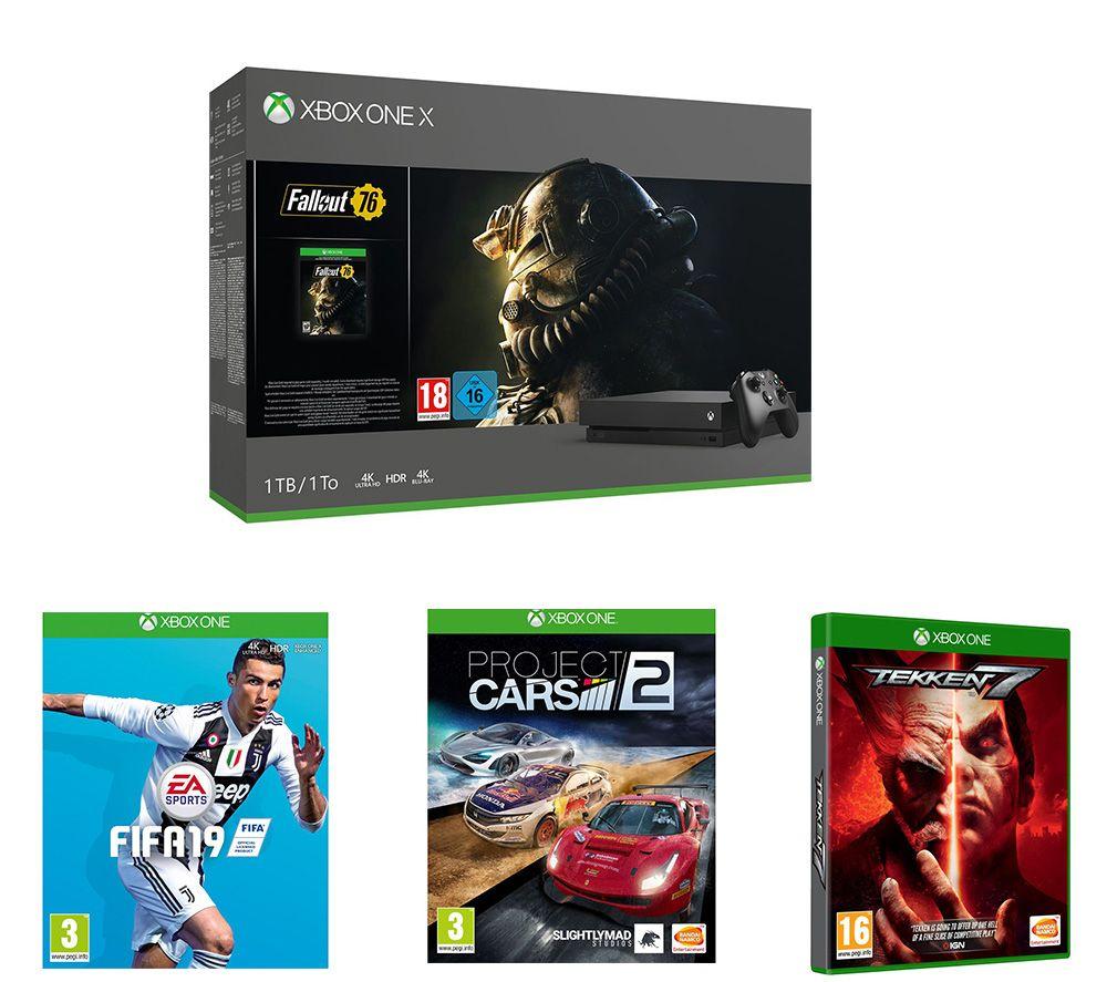 Image of MICROSOFT Xbox One X, Fallout 76, Tekken 7, FIFA 19 & Project Cars 2 Bundle