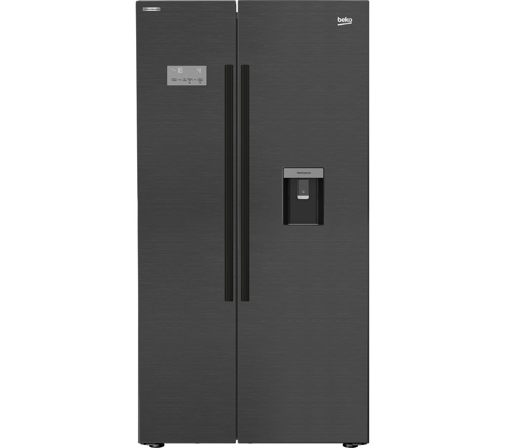 BEKO Pro ASDM241Z American-Style Fridge Freezer - Black Steel