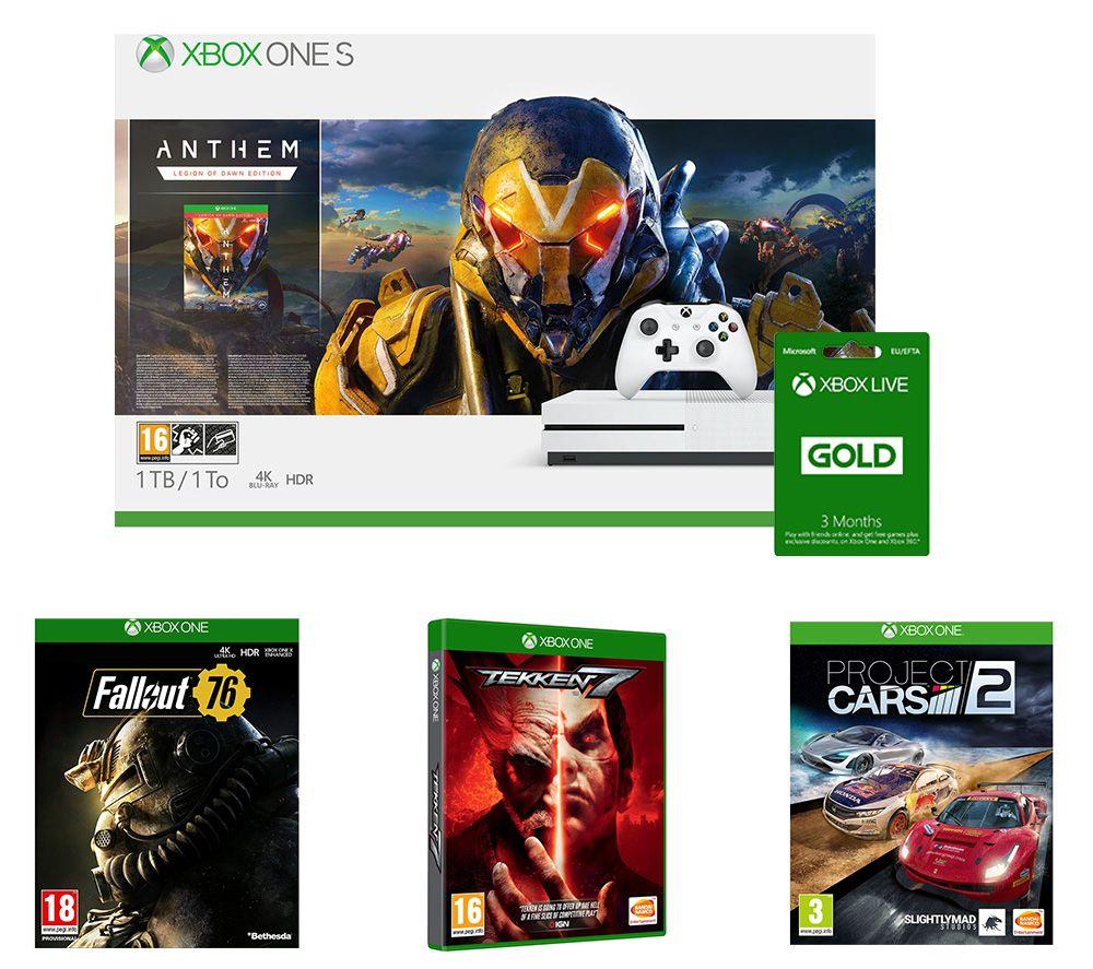 MICROSOFT Xbox One S, Anthem, Project Cars 2, Tekken 7, Fallout 76 & LIVE Gold 3 Month Subscription Bundle
