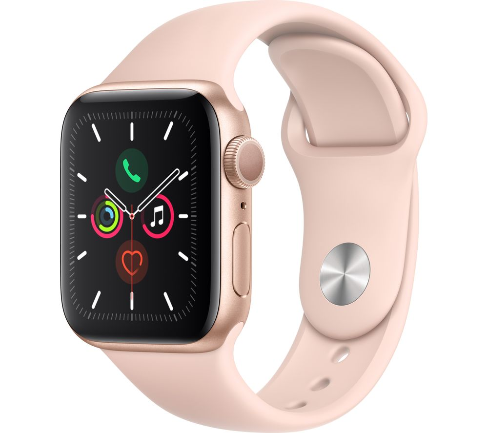 APPLE Watch Series 5 - Gold Aluminium with Pink Sand Sports Band, 44 mm