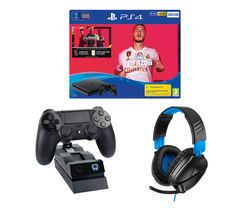 SONY Playstation 4 with FIFA 20, Twin Docking Station & Gaming Headset Bundle - 500 GB