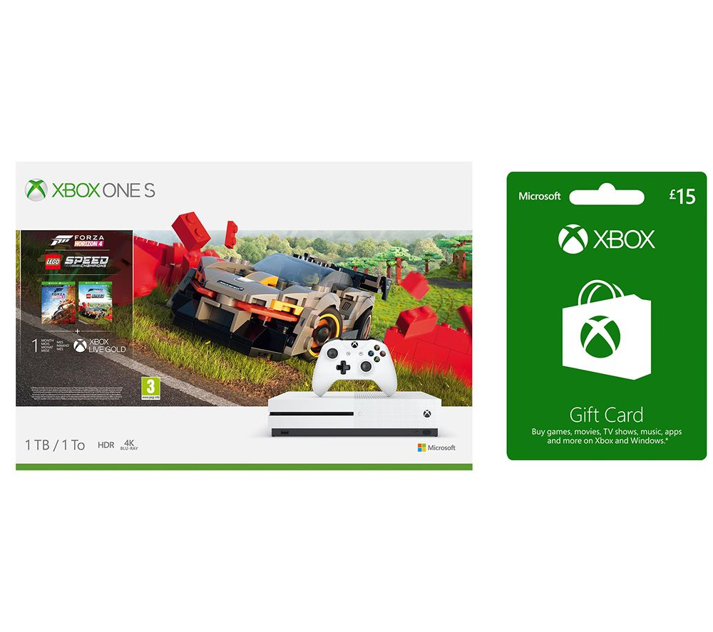 MICROSOFT Xbox One S with Forza Horizon 4, LEGO Speed Champions & �15 Xbox Live Gift Card Bundle