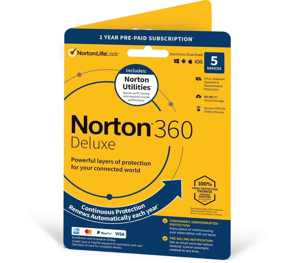 Image of NORTON 360 Deluxe (2020) & Norton Utilities - 1 year for 5 devices