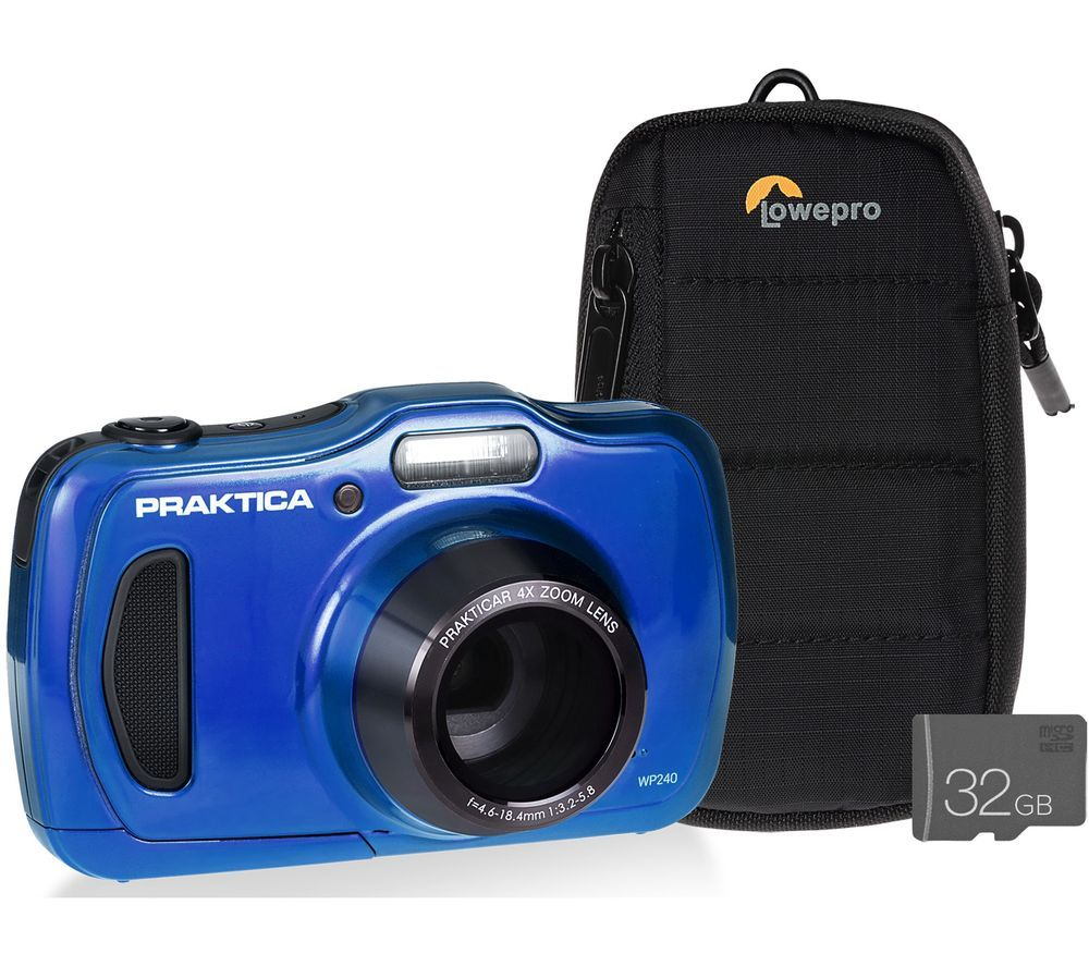 Praktica Luxmedia Wp240 Bl Compact Camera With Case Sd Card Blue Blue