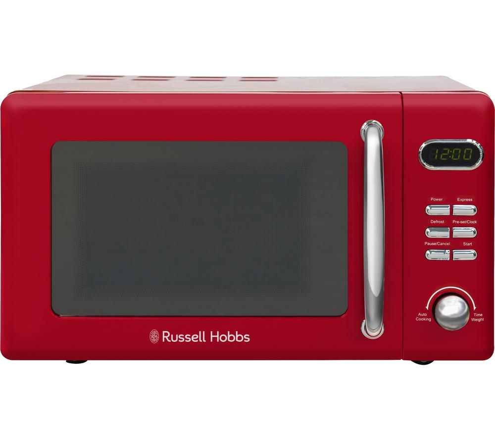 RUSSELL HOBBS Retro RHRETMD806R Compact Solo Microwave - Red, Red