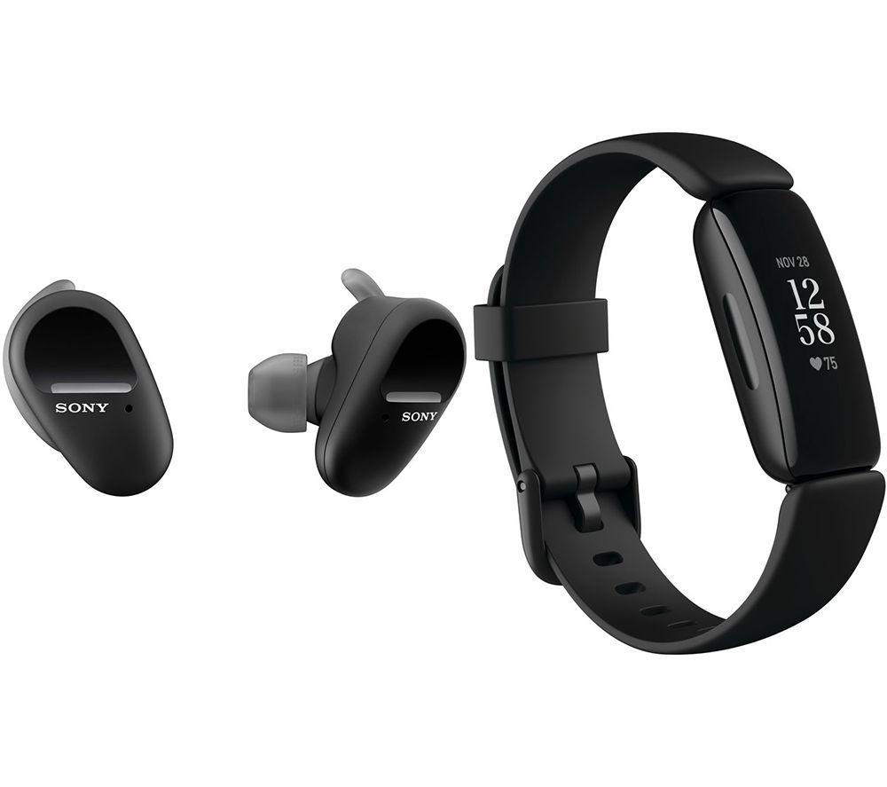 SONY WF-SP800N Wireless Sports Earbuds & Fitbit Inspire 2 Bundle