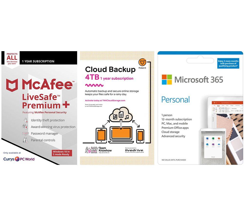 Image of MCAFEE LiveSafe Premium, Microsoft 365 Personal & Knowhow 4 TB Cloud Backup Bundle - 1 year
