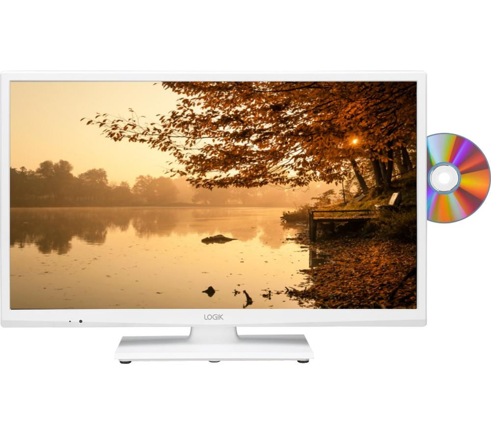 "LOGIK L24HEDW15 24"" LED TV with Built-in DVD Player - White + L2HDINT15 2 m HDMI Cable"