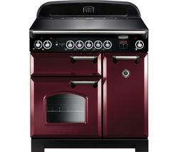 RANGEMASTER Classic 90 cm Electric Induction Range Cooker - Cranberry & Chrome
