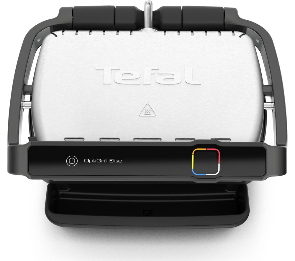 TEFAL Optigrill Elite GC750D40 Smart Health Grill - Silver & Black, Silver