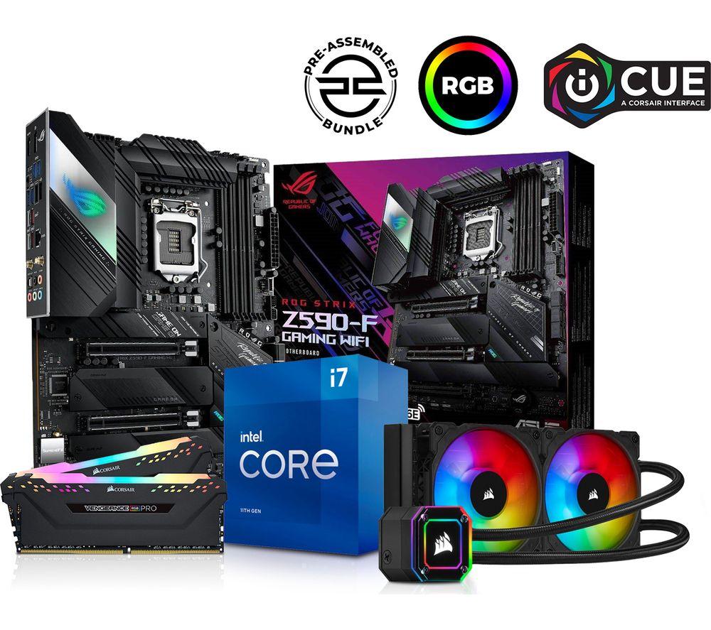 Image of PCSPECIALIST Intel® Core™ i7 Processor, ROG STRIX Gaming Motherboard, 16 GB RAM & H100i RGB CPU Cooler Components Bundle