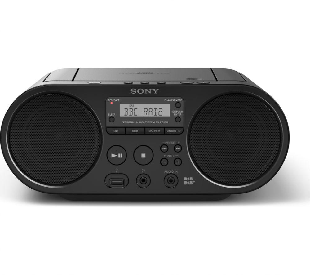 SONY ZS-PS55B DAB/FM Boombox - Black, Black