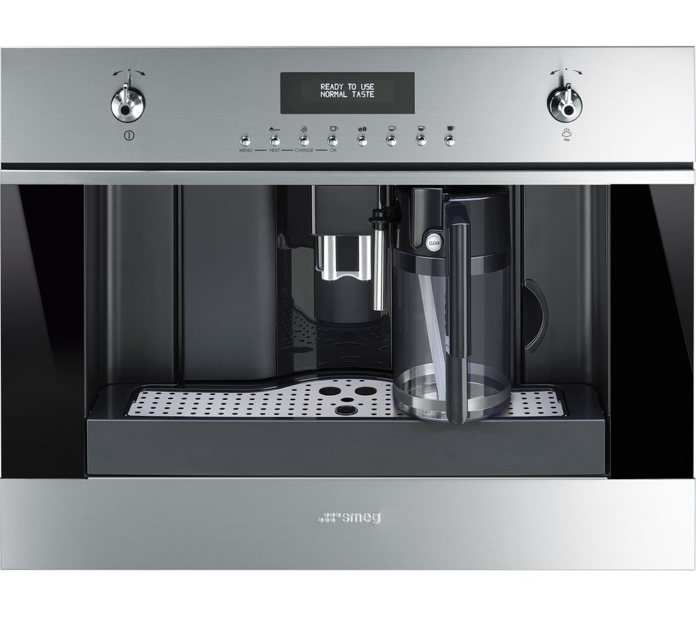 SMEG CMS6451X Built-in Bean-to-Cup Coffee Machine - Stainless Steel & Black Glass