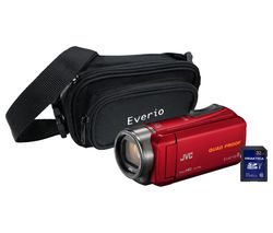 JVC GZ-R435 Camcorder, Bag & 32 GB SD Card Kit - Red
