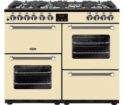 BELLING Kensington 100DFT Dual Fuel Range Cooker - Cream & Chrome