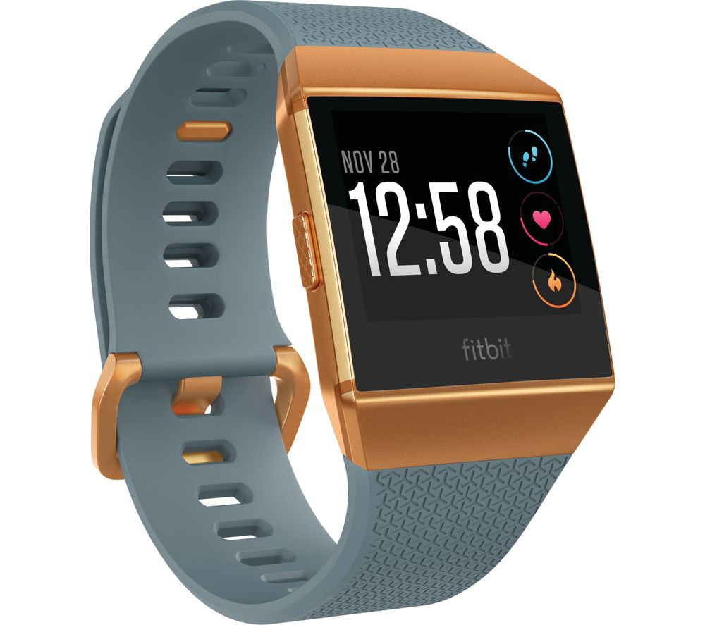 FITBIT Ionic - Slate Blue & Burnt Orange + Ionic Sport Band - Black & Grey, Large