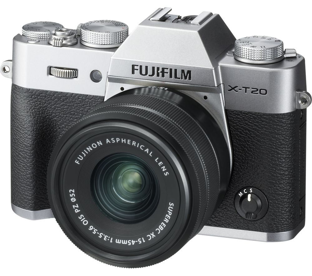 FUJIFILM X-T20 Mirrorless Camera with FUJINON XC 15-45 mm f/3.5-5.6 OIS PZ Lens - Silver