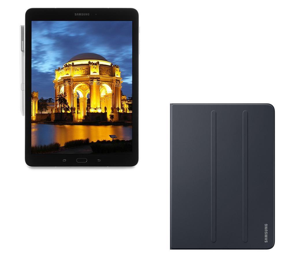 """Image of SAMSUNG Galaxy Tab S3 9.7"""" Tablet, S Pen & Folio Case Bundle - 32 GB, Silver, Silver"""
