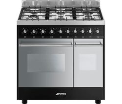C92DBL9 90 cm Dual Fuel Range Cooker - Black & Stainless Steel