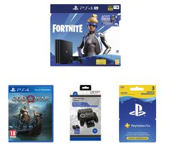 SONY PlayStation 4 Pro with Fortnite Neo Versa, Twin Docking Station, PlayStation Plus Subscription & God of War Bundle
