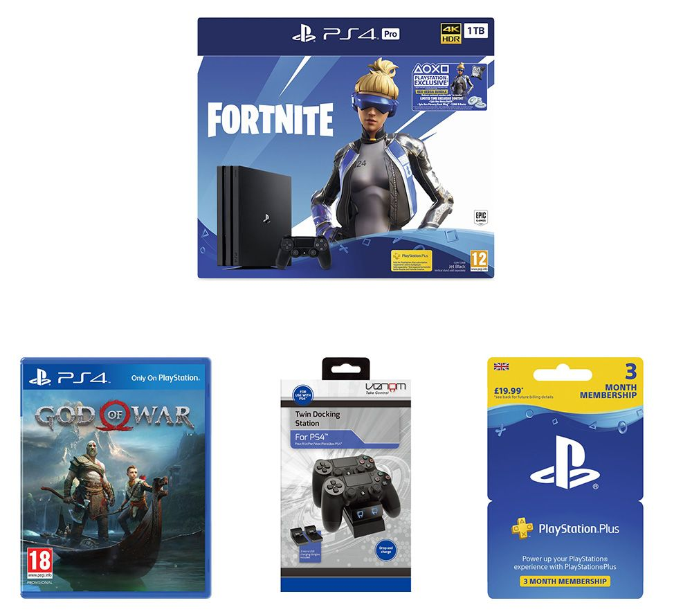 SONY PlayStation 4 Pro with Fortnite Neo Versa, Twin Docking Station, PlayStation Plus Subscription