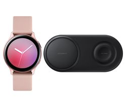 Galaxy Watch Active2 & Qi Wireless Duo Charging Pad Bundle - Pink Gold, Aluminium, 44 mm