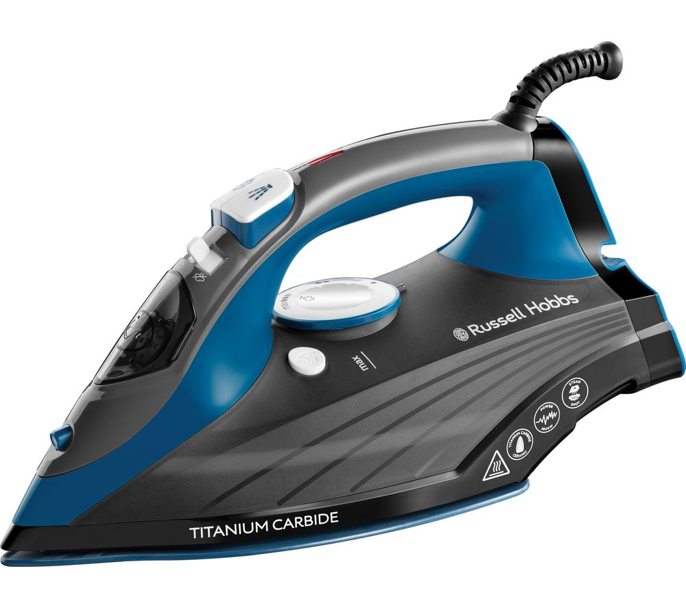 RUSSELL HOBBS 27090 Titanium Carbide Steam Iron - Blue & Grey