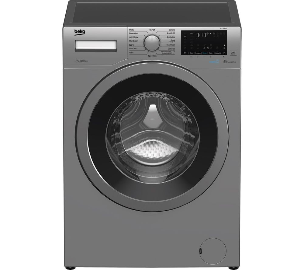 BEKO WEX740430S Bluetooth 7 kg 1400 Spin Washing Machine - Silver