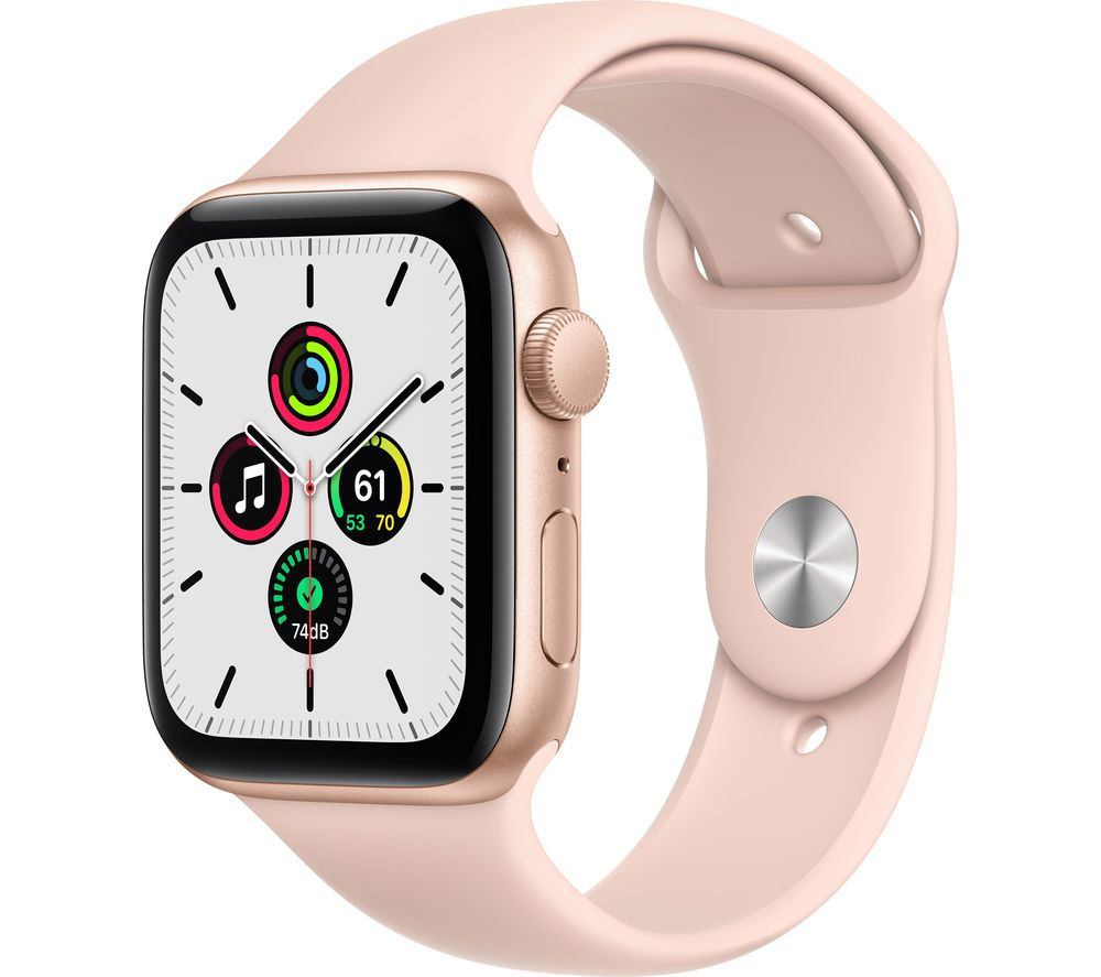 APPLE Watch SE - Gold Aluminium with Pink Sand Sports Band, 44 mm
