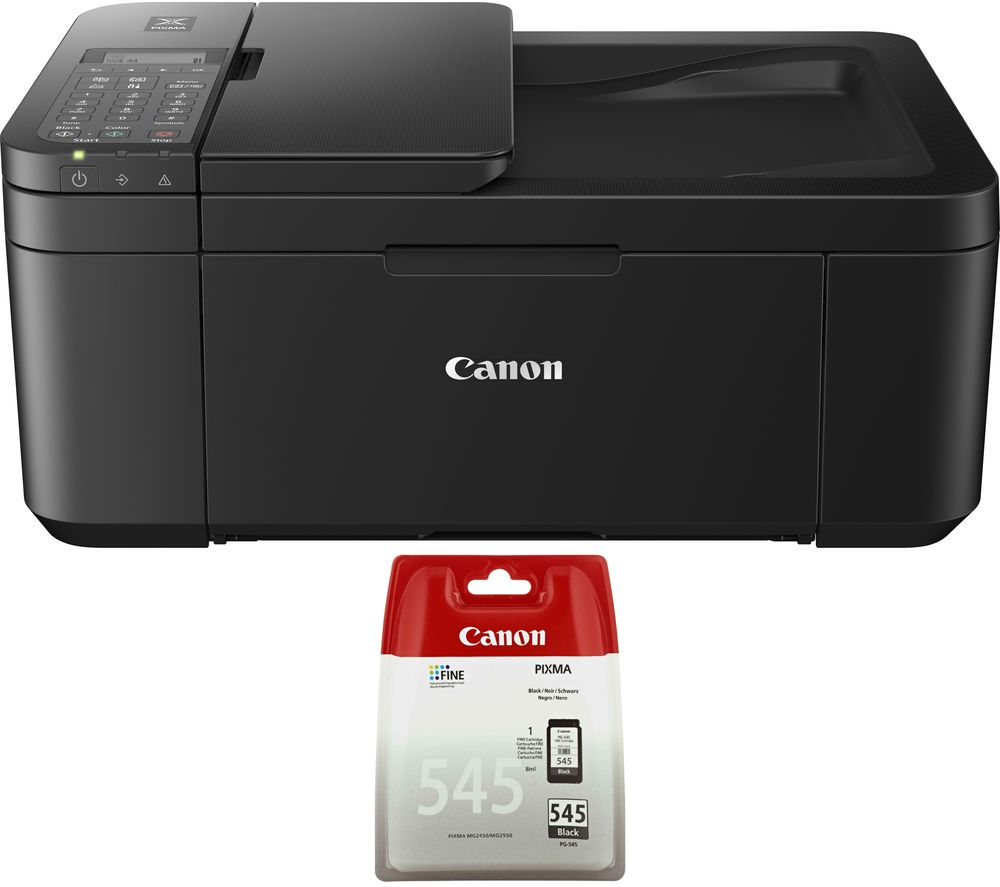 CANON PIXMA TR-4550 All-in-One Wireless Inkjet Printer with Fax & PG-545 Black Ink Cartridge Bundle, Black