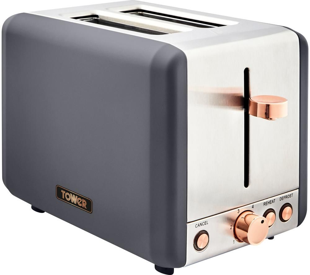 Image of TOWER Cavaletto T20036RGG 2-Slice Toaster - Grey & Rose Gold, Grey