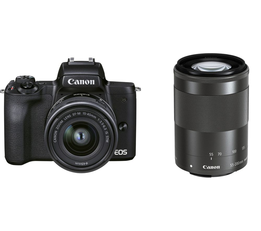 CANON EOS M50 Mark II Mirrorless Camera with EF-M 15-45 mm f/3.5-6.3 IS STM & 55-200 mm f/4.5-6.3 IS