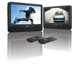 L9DUALM13 Dual Screen Portable DVD Player - Black & White