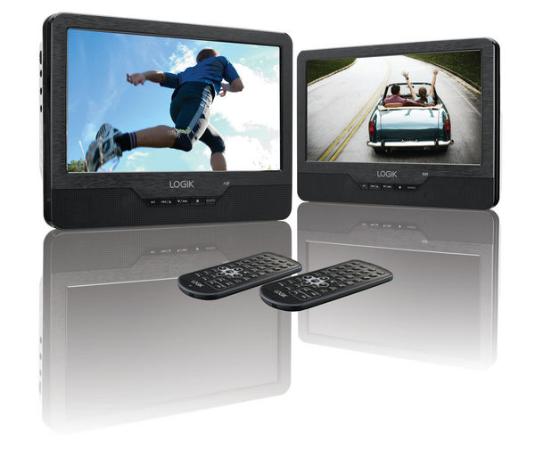 LOGIK L9DUALM13 Dual Screen Portable DVD Player - Black, Black