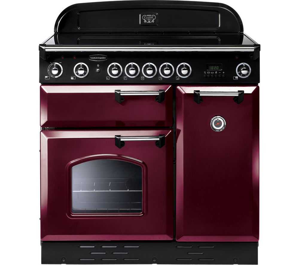 RANGEMASTER Classic 90E Electric Induction Range Cooker - Cranberry & Chrome