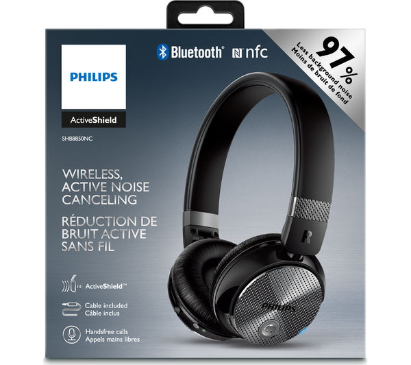 buy philips shb8850nc wireless bluetooth noise cancelling headphones black free delivery. Black Bedroom Furniture Sets. Home Design Ideas