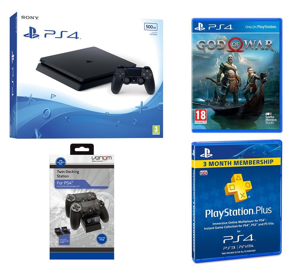 PlayStation 4 Slim, God Of War, Docking Station & PS Plus Bundle, Red