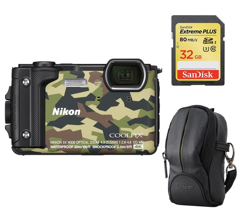 NIKON COOLPIX W300 Tough Compact Camera, SWCOM13 Camera Case & 32 GB Memory Card - Camo